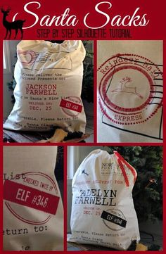 Santa Sacks (Silhouette Tutorial) Tutorial on how to make DIY Santa sacks for Christmas with heat transfer vinyl.Tutorial on how to make DIY Santa sacks for Christmas with heat transfer vinyl. Christmas Vinyl, Christmas Bags, Noel Christmas, Christmas Projects, Holiday Crafts, Santa Crafts, Christmas Sewing, Father Christmas, Christmas Stocking
