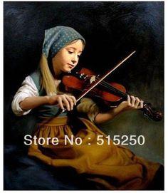 若い女の子の素敵な油絵の肖像画キャンバス上のキャンバスにヴァイオリンをひく100%送料無料(China (Mainland))