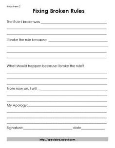 Behavior sheets for students to fill out when rules are broken.