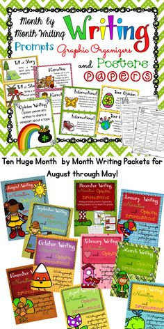 Month by Month Writing Prompts, Graphic Organizers, Posters, and Papers. Ten packets included in this huge bundle for August through May! Perfect to use in your writing centers or to supplement your writing lessons.