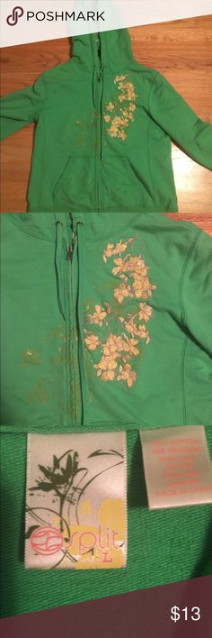 Green zip up hoodie with gold floral design Green SLIP zip up hoodie with gold floral design. Super cute hood...it has the gold floral design inside as well! This is a size Large but it is form fitting. Great condition! Split Other