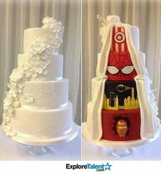 Love this cake. Maybe not with super heroes, but possibly with something else.