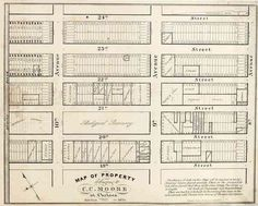 A map from 1835 of property belonging to Clement Clarke Moore in Chelsea. These newly subdivided lots eventually came to be worth fortunes. (Museum of the City of New York)