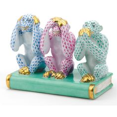 Herend Hand Painted Porcelain Figurine Hear See Speak No Evil Blue Raspberry Green Fishnet Gold Accents.