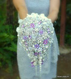 Deposit on lavender cascading jeweled brooch bouquet  by Noaki, $275.00