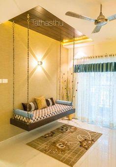 Wooden ledges above swing Living Room Partition Design, Living Room Sofa Design, Bedroom Furniture Design, Home Room Design, Home Interior Design, Living Room Designs, Home Decor Furniture, House Design, Indian Room Decor