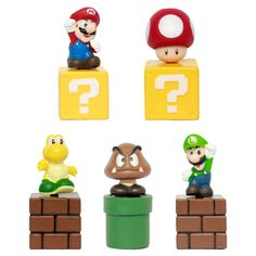 Super Mario Bros Mini Figures Bundle Blocks Mario Goomba Luigi Koopa Troopa Mushroom PVC Toys Anime SM015