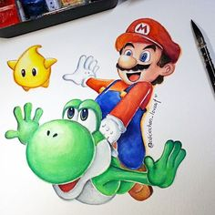 Watercolor painting : Super Mario collection  Hope you all like...