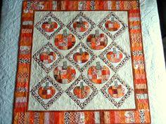 Pumpkins wall hanging, patchwork pumpkins wall quilt, applique pumpkins quilt…