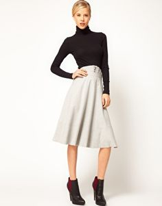 asos midi skirt with waist detail in grey from asos - $45.73