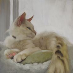 I think Diane has outdone herself with this cat. Diane Hoeptner: Through the Window oil painting of white cat