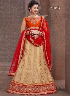 Cream And Red Net With Silk Embroidery Work Lehenga Choli  http://www.angelnx.com/Lehenga-Choli/Wedding-Lehenga-Choli