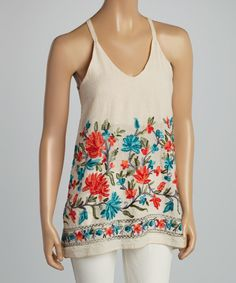 c8fcca9d8f R Rouge Cream   Red Floral Embroidered Tank