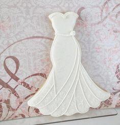 Ideas For Cookies Wedding Fancy Fancy Cookies, Royal Icing Cookies, Custom Cookies, Sugar Cookies, Iced Cookies, Wedding Dress Cookies, Wedding Shower Cookies, Bridal Shower, Anniversary Cookies