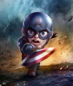 Captain America: Mini Avengers Series by Kuchu Pack Marvel Dc Comics, Marvel Avengers, Chibi Marvel, Avengers Series, Marvel Heroes, Captain America Wallpaper, Captain America Drawing, Die Rächer, Avengers Wallpaper