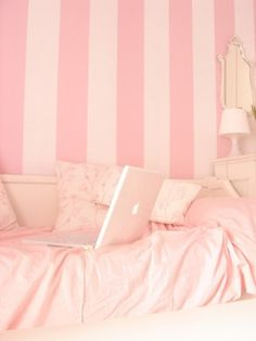 pink striped walls, I would love this for a big bathroom or walk in closet
