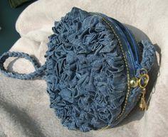denim purse ruffled.. cross body..Aliegha is one of a kind..