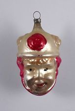 Rare Antique Blown Glass Figural Two Faced Christmas Ornament