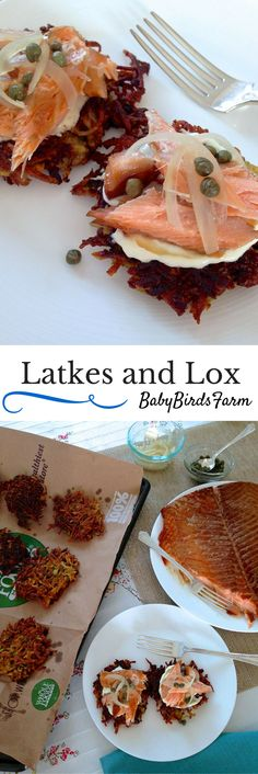 Latkes and lox: a perfect match. Try these Brussels sprouts and sweet potato latkes, homemade smoked salmon, creme fraiche, pickled sweet onions and capers. Hanukkah Food, Hannukah, Hanukkah Recipes, Happy Hanukkah, Kosher Recipes, Cooking Recipes, Kosher Food, Israeli Food, Israeli Recipes