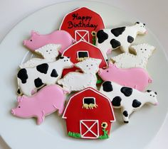 Farm decorated cookie favors: barns, cows, pigs and lambs, personalized, 1 Dozen Farm Cookies, Easter Cookies, Iced Biscuits, Cookies Et Biscuits, Royal Icing Cookies, Sugar Cookies, Cupcakes, Cupcake Cakes, Cookie Designs
