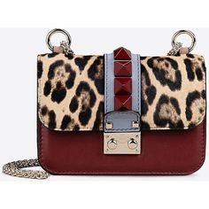 Valentino Mini chain shoulder bag ($2,275) ❤ liked on Polyvore featuring bags, handbags, shoulder bags, maroon, studded handbags, leopard print purse, multi colored handbags, mini shoulder bag и valentino handbag