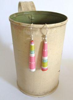 Paper Earrings  Paper Bead Earrings in Pink by twoelements on Etsy, $12.00