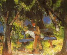 August Macke (German, 1887-1914)  'Man Reading in a Park', 1914