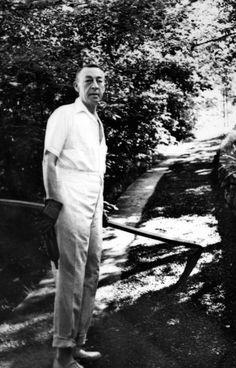 Sergei Rachmaninoff doing yardwork.