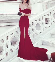 Sexy Leg Slit Long Mermaid Evening Dress Off Shoulder Prom Gowns