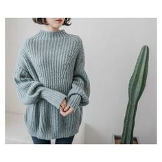 demavie Mock-Neck Rib-Knit Sweater