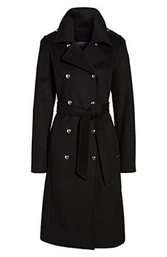 Wool Trench Coat, Black Wool, Michael Kors Black, Vest Jacket, Double Breasted, Online Price, Wool Blend, Military, Clothes For Women