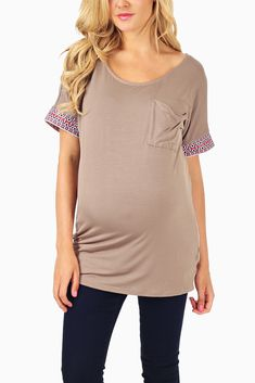 Mocha-Tribal-Embroidered-Sleeve-Maternity-Top #maternity #fashion #cutematernityclothing #cutematernitytops #falloutfits #falltrends