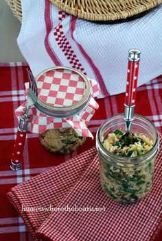 Orzo Salad in Mason Jars. from Home Is Where the Boat Is
