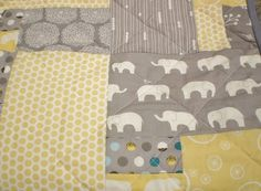 Elephant baby quilt-Organic baby quilt-Modern baby quilt-boy or girl quilt,Ellie Fam,Birch Fabric,yellow,grey,teal,woodland-Scrap Elephant