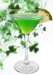 Emerald Martini   (1.75 oz Finlandia  vodka 3/4 oz Melon Liqueur  Splash of Pineapple Juice)