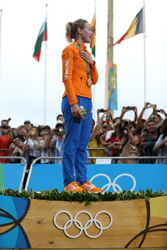 Gold medalist Anna van der Breggen of the Netherlands celebrates after winning the Women's Road Race on Day 2 of the Rio 2016 Olympic Games at Fort Copacabana on August 7, 2016 in Rio de Janeiro, Brazil.