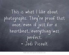 This is what I like about photographs. They're proof that once, even if just for a heartbeat, everything was perfect. – Jodi Picoult