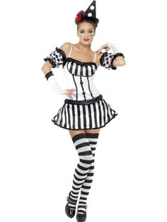 LADIES FEVER CLOWN MIME DIVA COSTUME SEXY BLACK WHITE PIERROT ...