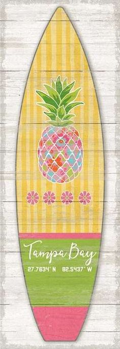 Artist Suzanne Nicoll's bright pink and yellow striped Pineapple Surfboard image printed directly to a distressed wood panel creating a unique and rustic approach to her art - completely custom created for you! Beach Cottage Style, Beach Cottage Decor, Coastal Style, Coastal Decor, Cottage Ideas, Coastal Living, Coastal Homes, Florida Living, Nautical Bedding