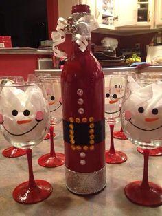 Diy snowman wine glasses   Www.tsbybeth.com