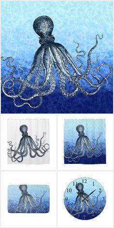 Nautical steampunk octopus vintage kraken drawing soap dispenser ...