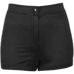 TOPSHOP Petite Shiny High Waist Shorts ($24) ❤ liked on Polyvore featuring shorts, bottoms, pants, short, black, petite, petite shorts, high rise shorts, highwaist shorts and topshop shorts