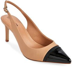 tahari Fawn & Black Podium Cap Toe Slingback Pumps