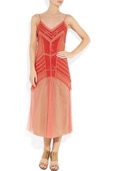 Tangerine drop waist sheer dress-Alberta Fereretti