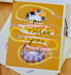 Thank You Card  Cat Thank You Card  Colorful by jamieshelman