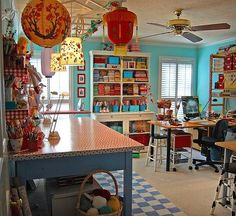 Turquoise, red and yellow craft room