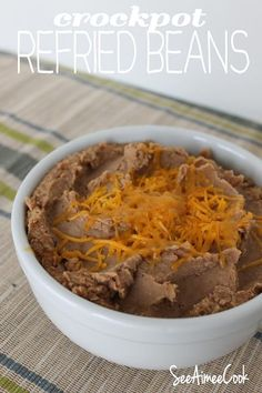 See Aimee Cook: Refried Beans (Crockpot) Crock Pot Slow Cooker, Crock Pot Cooking, Slow Cooker Recipes, Spanish Dishes, Mexican Dishes, Mexican Meals, Mexican Cooking, Mexican Food Recipes, Healthy Crockpot Recipes