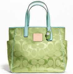 Coach Lime Green Signature XL Resort Tote 22690