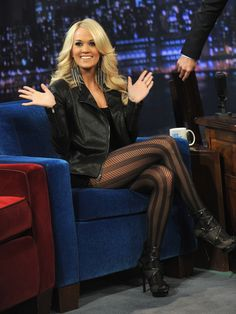 """Carrie Underwood Photos - Carrie Underwood visits """"Late Night With Jimmy Fallon"""" at Rockefeller Center on November 2012 in New York City. - Carrie Underwood Photos - 4020 of 7714 Carrie Underwood Legs, Carrie Underwood Photos, Hot High Heels, Brian Atwood, Black Tights, Striped Tights, Leather Tights, Tights And Heels, Patterned Leggings"""