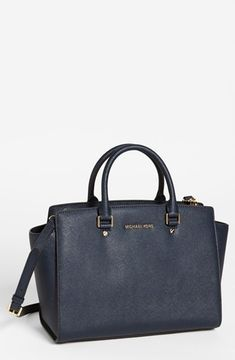ShopStyle.com: MICHAEL Michael Kors 'Selma - Large' Leather Satchel Navy $358.00